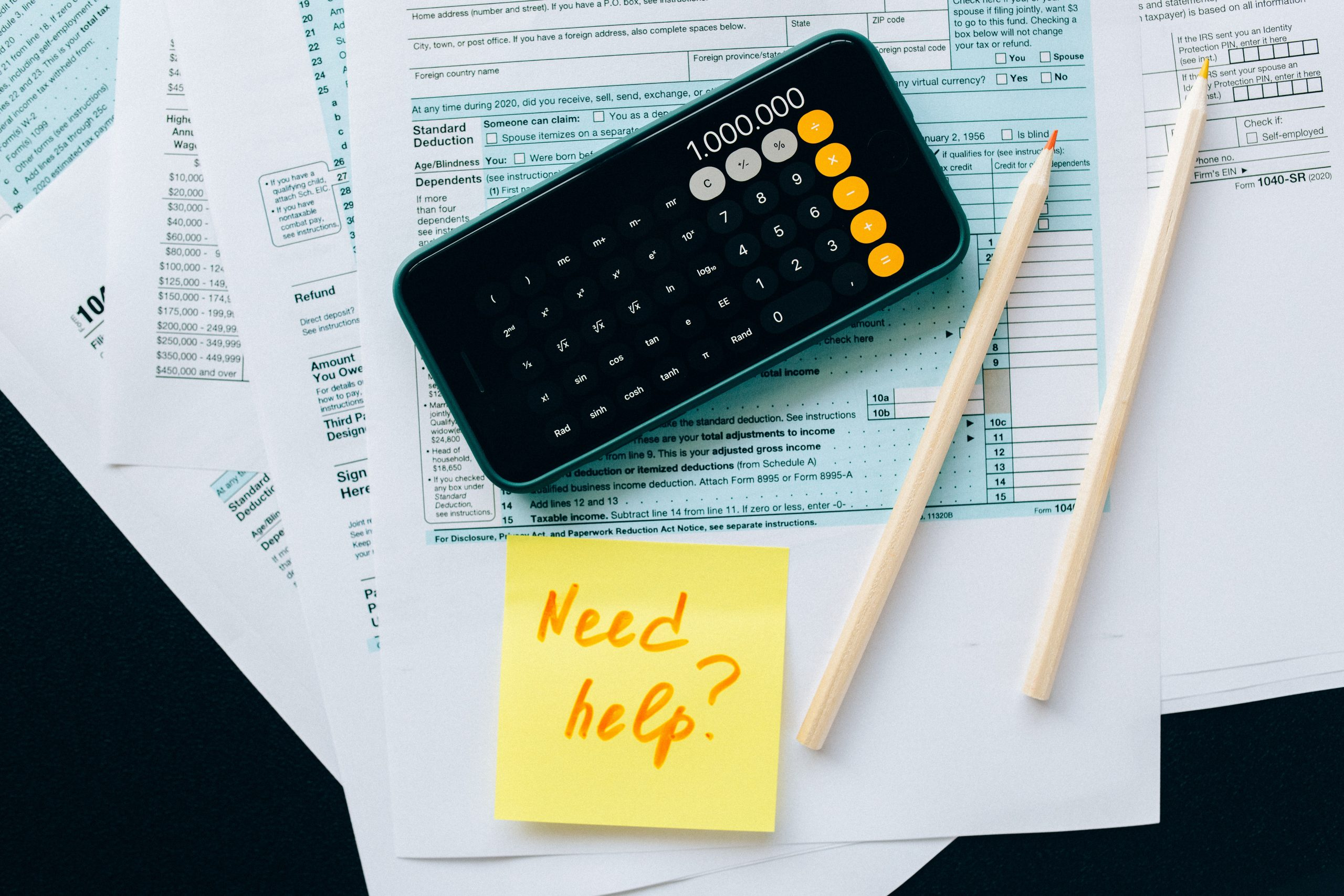Small business accountant - pencils and calculator on paper